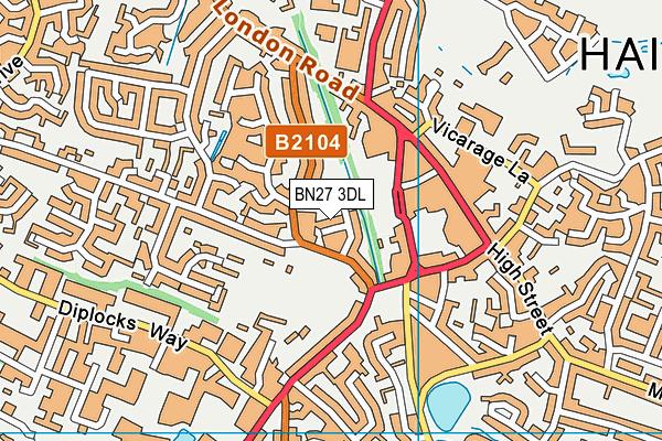 BN27 3DL map - OS VectorMap District (Ordnance Survey)