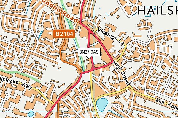 BN27 9AS map - OS VectorMap District (Ordnance Survey)