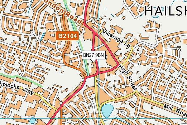 BN27 9BN map - OS VectorMap District (Ordnance Survey)