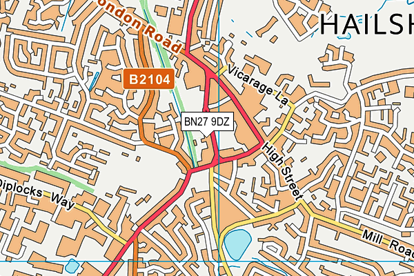 BN27 9DZ map - OS VectorMap District (Ordnance Survey)