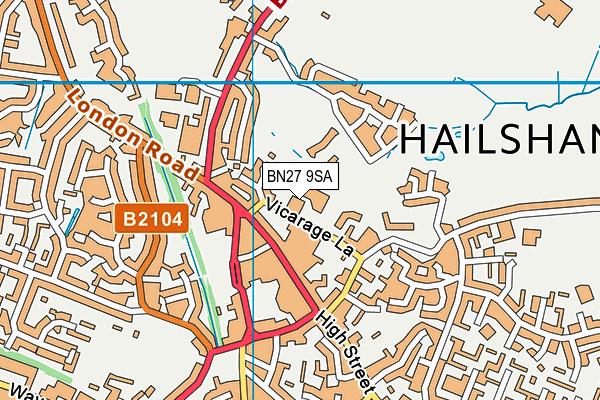 BN27 9SA map - OS VectorMap District (Ordnance Survey)