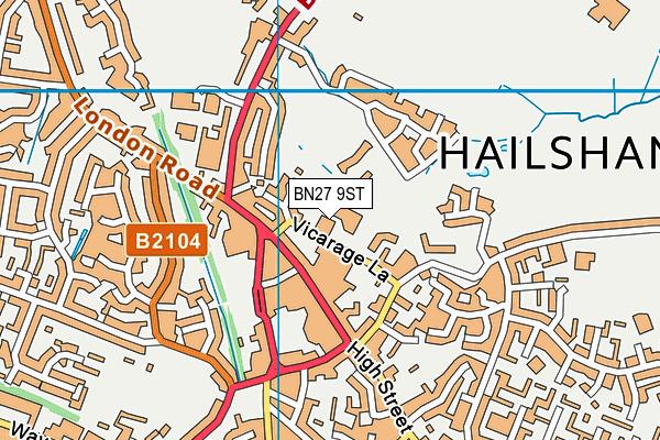 BN27 9ST map - OS VectorMap District (Ordnance Survey)