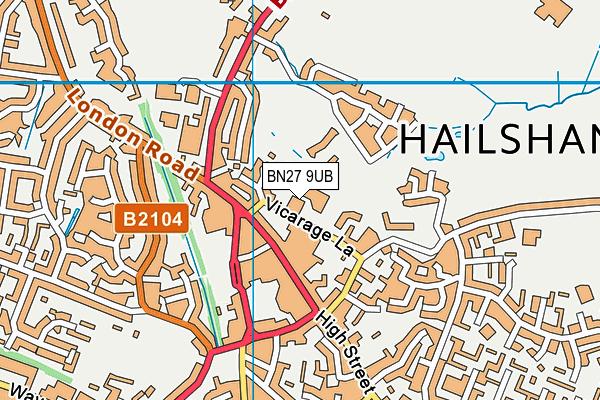 BN27 9UB map - OS VectorMap District (Ordnance Survey)