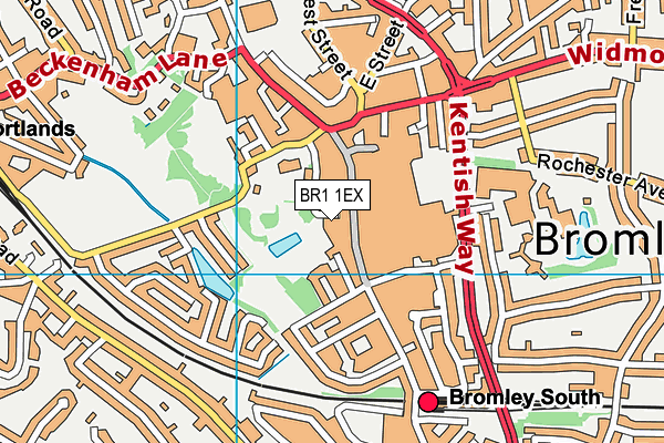 Bromley Central Library map (BR1 1EX) - OS VectorMap District (Ordnance Survey)