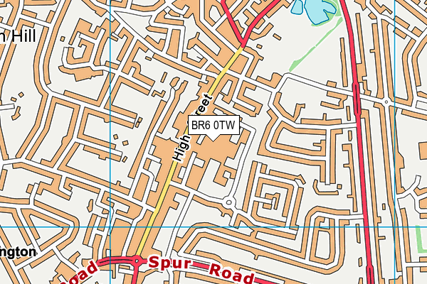 Orpington Library map (BR6 0TW) - OS VectorMap District (Ordnance Survey)
