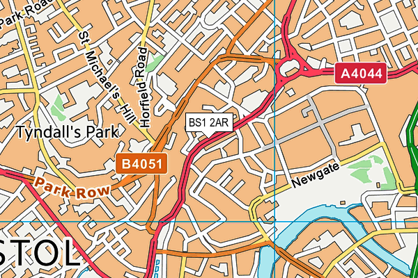 BS1 2AR map - OS VectorMap District (Ordnance Survey)