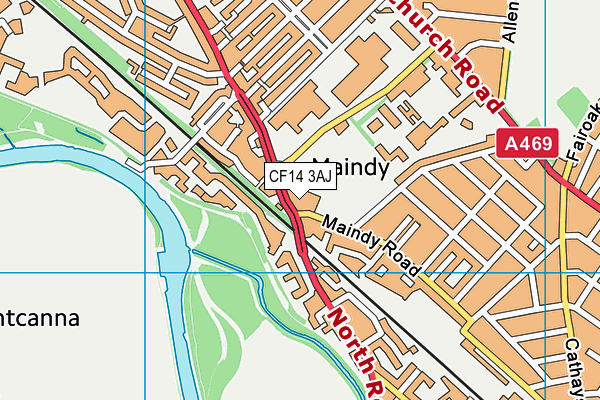 Maindy Centre map (CF14 3AJ) - OS VectorMap District (Ordnance Survey)