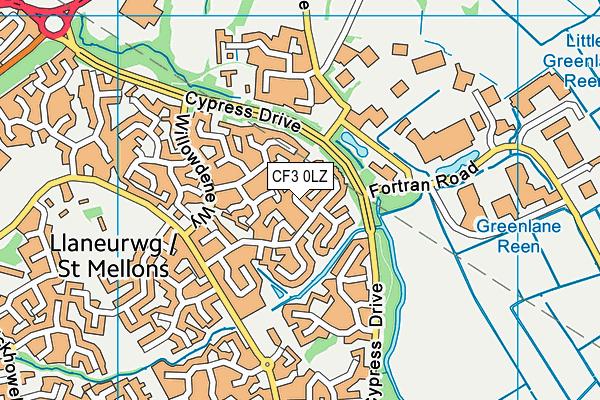 CF3 0LZ map - OS VectorMap District (Ordnance Survey)