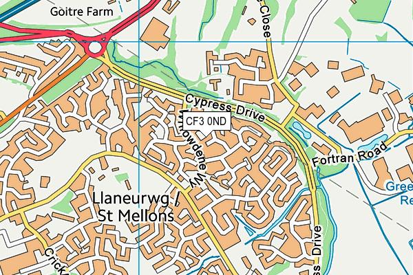 CF3 0ND map - OS VectorMap District (Ordnance Survey)