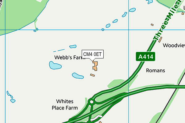 Hylands Golf Complex map (CM4 0ET) - OS VectorMap District (Ordnance Survey)