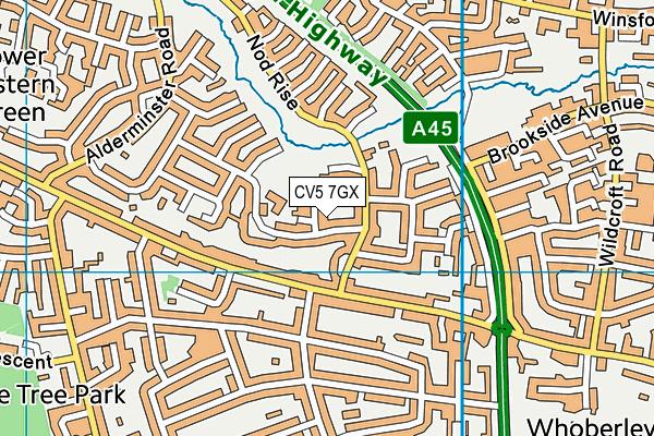 St John Vianney Catholic Primary School map (CV5 7GX) - OS VectorMap District (Ordnance Survey)