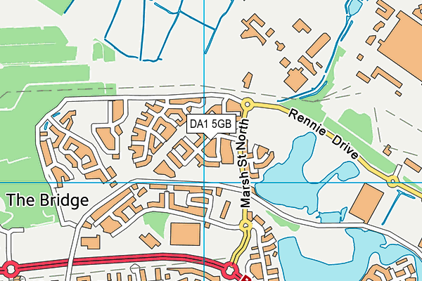 Dartford Bridge Community Primary School map (DA1 5GB) - OS VectorMap District (Ordnance Survey)