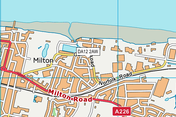 DA12 2AW map - OS VectorMap District (Ordnance Survey)