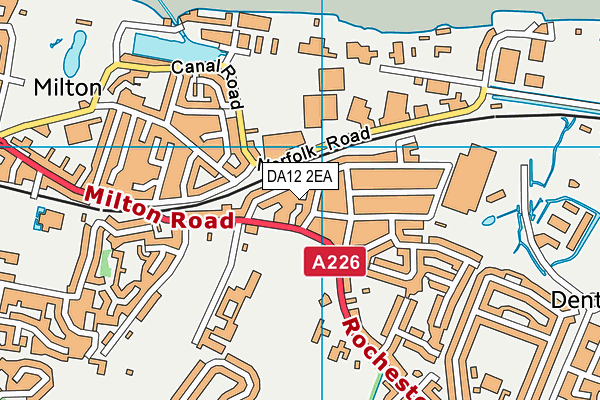 DA12 2EA map - OS VectorMap District (Ordnance Survey)
