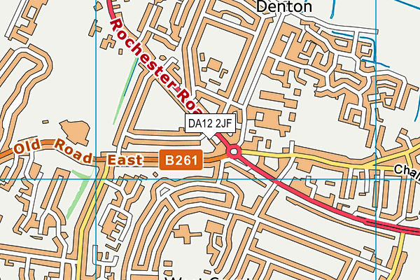 DA12 2JF map - OS VectorMap District (Ordnance Survey)