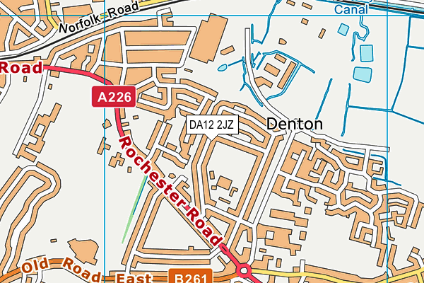 DA12 2JZ map - OS VectorMap District (Ordnance Survey)