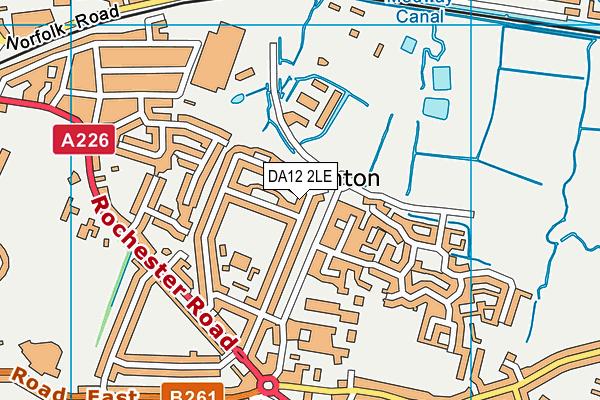 DA12 2LE map - OS VectorMap District (Ordnance Survey)