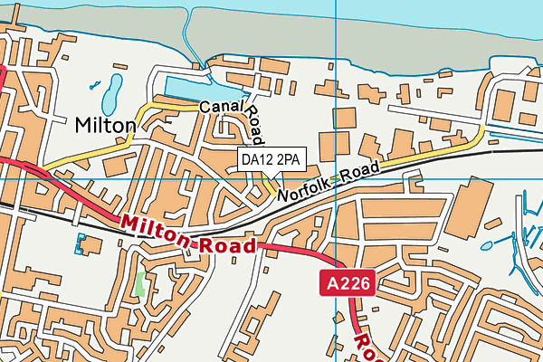 DA12 2PA map - OS VectorMap District (Ordnance Survey)