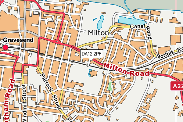 DA12 2PF map - OS VectorMap District (Ordnance Survey)