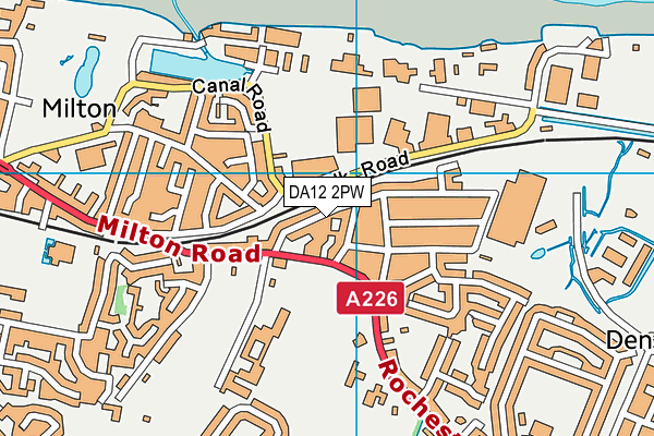 DA12 2PW map - OS VectorMap District (Ordnance Survey)
