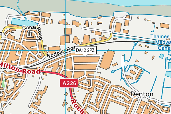 DA12 2PZ map - OS VectorMap District (Ordnance Survey)