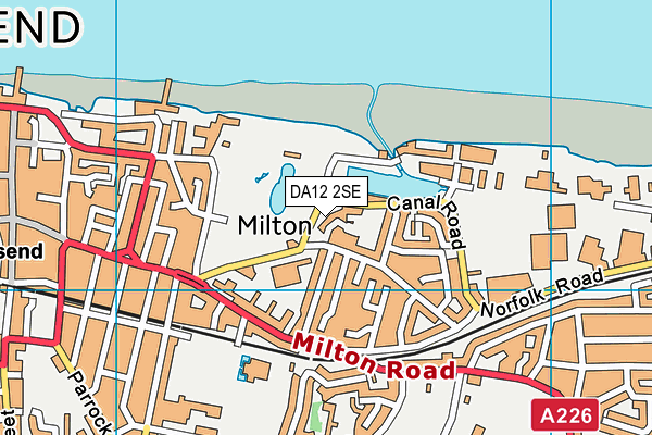 DA12 2SE map - OS VectorMap District (Ordnance Survey)