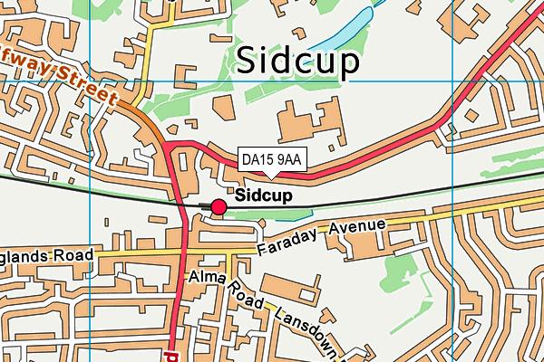 DA15 9AA map - OS VectorMap District (Ordnance Survey)