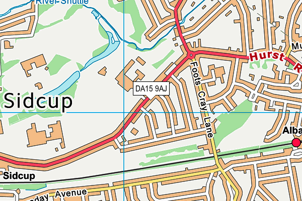DA15 9AJ map - OS VectorMap District (Ordnance Survey)