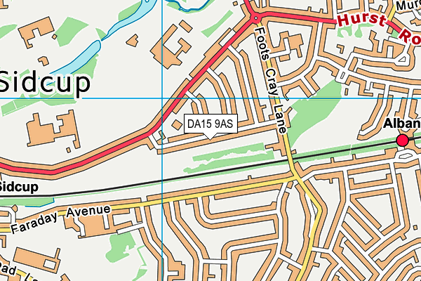 DA15 9AS map - OS VectorMap District (Ordnance Survey)
