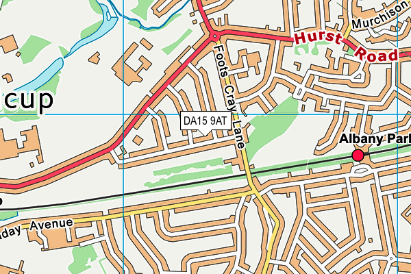 DA15 9AT map - OS VectorMap District (Ordnance Survey)
