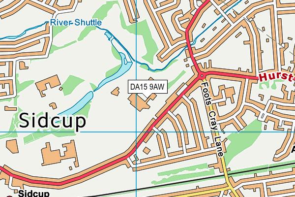 DA15 9AW map - OS VectorMap District (Ordnance Survey)