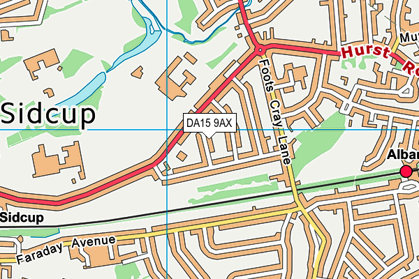 DA15 9AX map - OS VectorMap District (Ordnance Survey)
