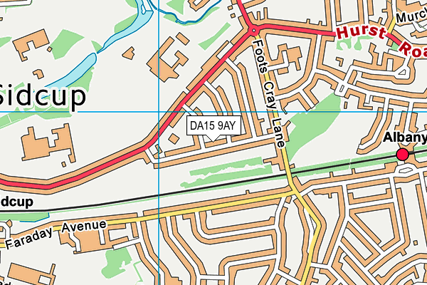 DA15 9AY map - OS VectorMap District (Ordnance Survey)