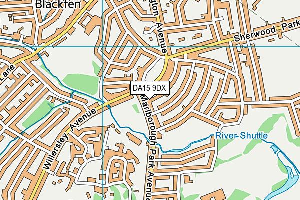 DA15 9DX map - OS VectorMap District (Ordnance Survey)