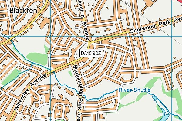 DA15 9DZ map - OS VectorMap District (Ordnance Survey)