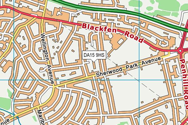 DA15 9HS map - OS VectorMap District (Ordnance Survey)
