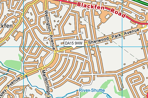 DA15 9HW map - OS VectorMap District (Ordnance Survey)