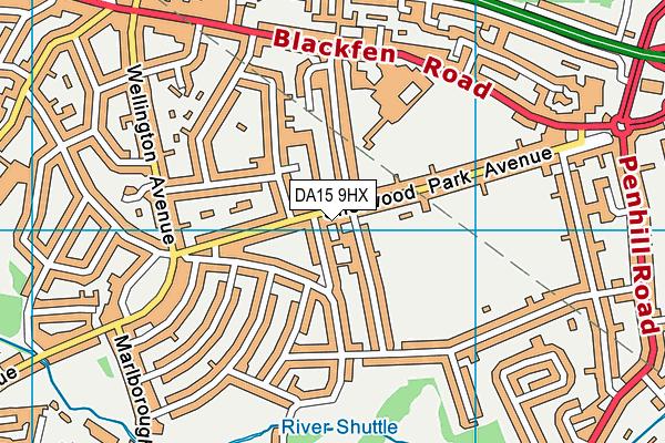 DA15 9HX map - OS VectorMap District (Ordnance Survey)
