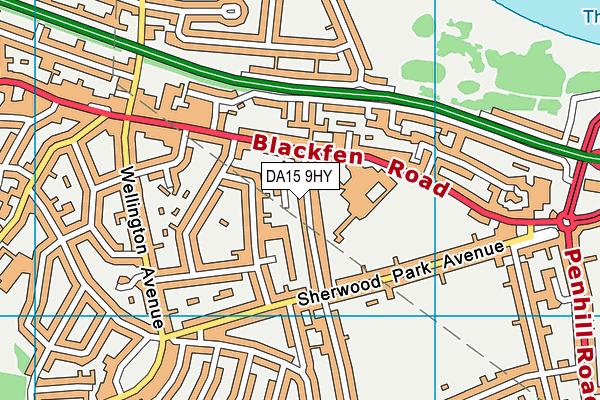 DA15 9HY map - OS VectorMap District (Ordnance Survey)