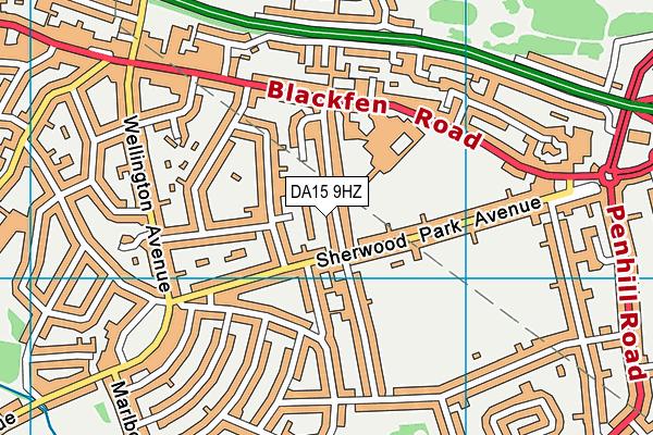 DA15 9HZ map - OS VectorMap District (Ordnance Survey)