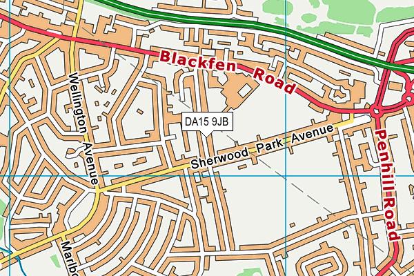 DA15 9JB map - OS VectorMap District (Ordnance Survey)