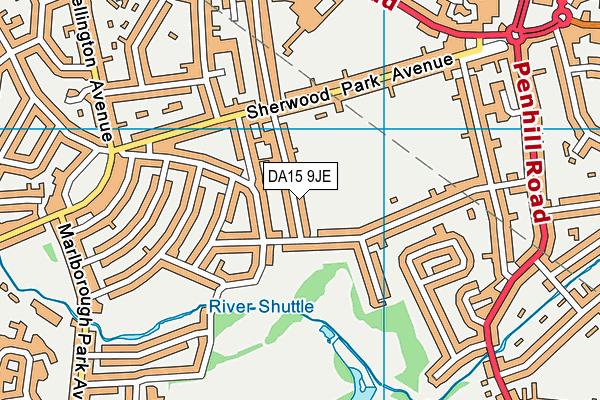DA15 9JE map - OS VectorMap District (Ordnance Survey)