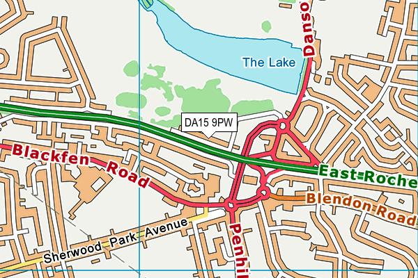 DA15 9PW map - OS VectorMap District (Ordnance Survey)