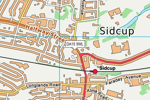 DA15 9WL map - OS VectorMap District (Ordnance Survey)