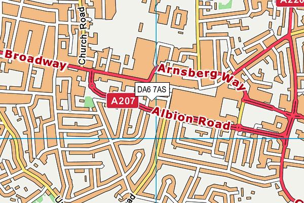 DA6 7AS map - OS VectorMap District (Ordnance Survey)