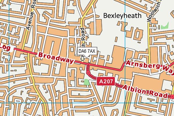 DA6 7AX map - OS VectorMap District (Ordnance Survey)