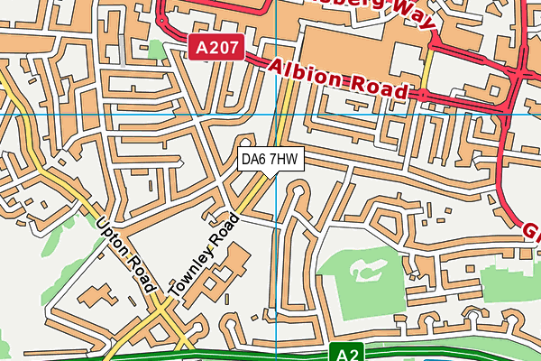 DA6 7HW map - OS VectorMap District (Ordnance Survey)