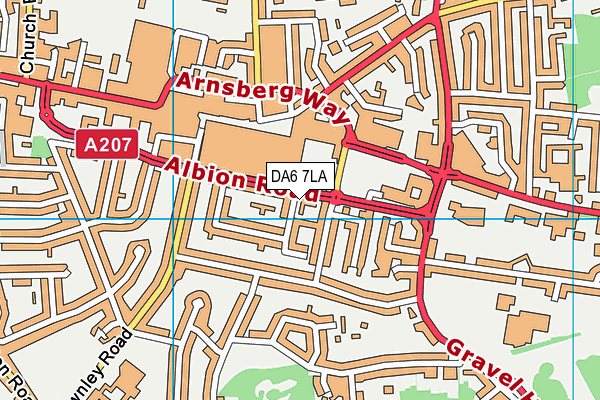 DA6 7LA map - OS VectorMap District (Ordnance Survey)
