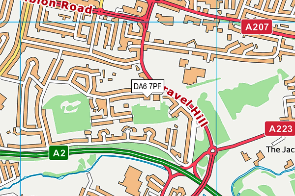 DA6 7PF map - OS VectorMap District (Ordnance Survey)