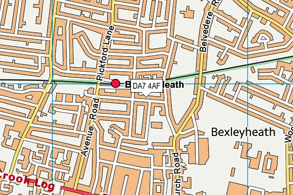 DA7 4AF map - OS VectorMap District (Ordnance Survey)